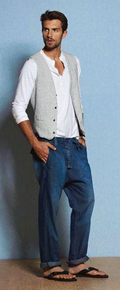 Richards ss11 - line vest, white long sleeve henley, dark blue jeans