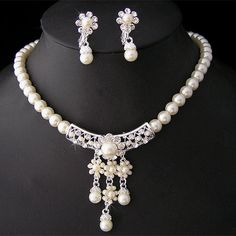 Wedding/Bridal pearl &crystal necklace earring set S216