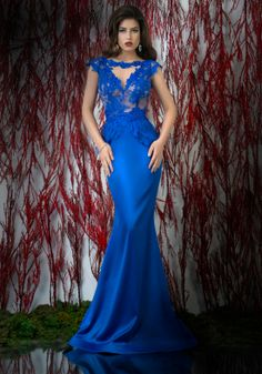 Blue mermaid evening dress with open back and peplum crafted in lace and satin with manual beaded embroidery   ♥   Shop your style online or book your appointment in a BIEN SAVVY store: Bucuresti: office@biensavvy.ro / +40757 370 108 Constanta: constanta@biensavvy.ro / +40757 825 185 Brasov brasov@biensavvy.ro / +40757 415 563