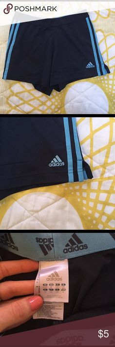 Adidas blue shorts Navy blue shorts with light blue stripes, Children's medium but fits like a women's XS Adidas Shorts