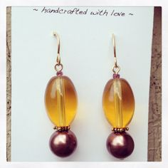 Amber and Plum 14 kt goldfilled Earrings by dragonflydesigns01, $16.00