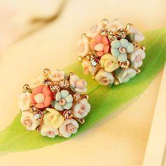 Colorful Blooming Flower Ball Rhinestones Stud Earring