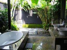 Outdoor Bathrooms And Indoor Gardens is part of Indoor garden Bathroom - It would be impossible to ever be a bitch if you had a bathroom like this Jungle Bathroom, Garden Bathroom, Garden Shower, Bathroom Plants, Nature Bathroom, Bohemian Bathroom, Pool Bathroom, Bathroom Wall, Balinese Bathroom