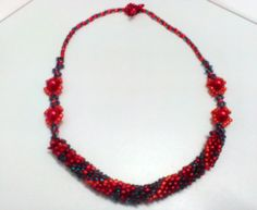 Beaded crocheted necklace in red blue and orange Necklace Crochet Necklace, Beaded Necklace, Orange Necklace, Unique Gifts, Handmade Gifts, Baby Wearing, Baby Knitting, Etsy Store, Gifts For Women