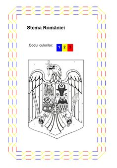 Stema Romaniei - fisa de colorat pe numere Art Projects, Projects To Try, Day Camp, Red Party, Interesting Reads, After School, 1 Decembrie, Activities For Kids, Preschool