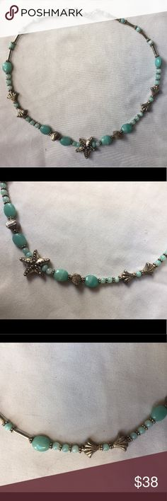 Vintage Anthropologie starfish beaded necklace Vintage Anthropologie beaded choker necklace. Turquoise and distressed silver beads with a silver starfish pendant. Made to look old. Perfect addition to any outfit. Gently worn a few times. Very good condition. Anthropologie Jewelry Necklaces