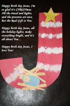 christian Christmas Crafts J is for Jesus preschool Christmas craft Christian Christmas Crafts, Christian Crafts, Kids Christmas, Church Christmas Craft, Christian Preschool Crafts, Jesus Crafts, Bible Crafts, Alphabet Crafts, Letter A Crafts