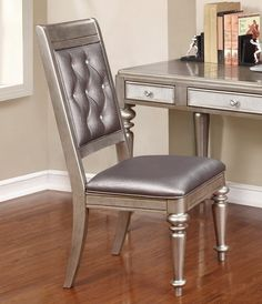 Coaster Bling Game Metallic Platinum Side Chair - Set of 2 Dining Chair Set, Dining Room Chairs, Cool Chairs, Side Chairs, Chair Design, Furniture Design, Furniture Logo, Office Furniture, Upholstered Swivel Chairs