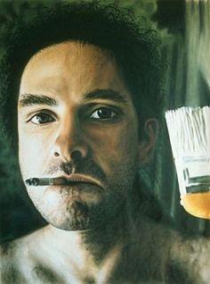 Laurent La Gamba. Self portrait with a brush.
