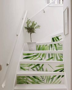 10 strips of Stair Riser eucalipto removable sticker peel Staircase Decals, Painted Staircases, Staircase Design, Ikea Kura, Wedding Stairs, Door Murals, Tile Decals, Stair Risers, Attic Spaces