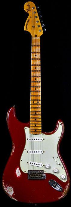 Wild West Guitars : Fender 1969 Stratocaster Heavy Relic Faded Dakota Red w/ Reverse Headstock