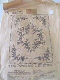 Rare VTG GOLD Art Needlework Co.#0108 HIBISCUS applique Quilt Kit 81 x 100 Floss #GoldArt
