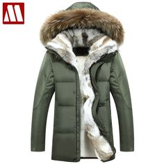 MYDBSH Thick Warm Winter Jacket Parkas Men Casual Fur Collar Hood Military  Overcoat Windproof White Duck 3ee0b23bb