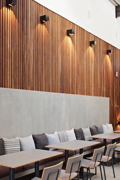 ... design wood slats wall restaurants patio wall lights wood wall design