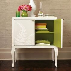Off white and surprise! green on the inside!  Color inside! My victrola cabinet! this is what i want to do!