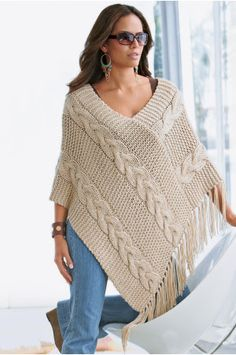 Poncho / cape - Hanna Rek - Álbumes web de Picasa    This is knit, but I think I could work it in crochet
