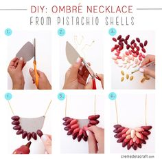 DIY: Ombrè Necklace From Pistachio Shells- it has always bugged me to just throw them away!