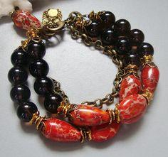 Red Magnesite and Smokey Quartz Bracelet por nina68 en Etsy