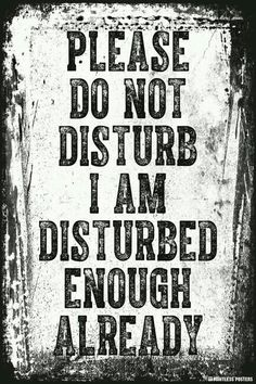 Please Do Not Disturb I Am Disturbed Enough Already Poster is part of Funny quotes - Ships Free! In Stock Ships in 12 days Poster Size 12 x 18 Printed on heavyweight gsm) poster paper Printed in the USA Suitable for framing Sarcastic Quotes, Me Quotes, Funny Quotes, Funny Memes, Asshole Quotes, Poster Quotes, Golf Quotes, Funny Shit, Hilarious