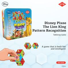 When you are looking for an indoor game that is fun, intelligent and engaging, there's no better choice than Disney-Pixoo-Lion King Pattern Recognition Puzzle.Use the 6-sided game pieces to make Simba, Timon and Pumba pictures. Make the maximum number of pictures, claim them with Pixoo coins and WIN.   #TheLionKing #PuzzleGame #DisneyPixooLionKing #DisneyLionKing #KaadooGames #Kaadoo Pattern Recognition, Disney Lion King, Indoor Games, Game Pieces, Tabletop Games, 4 Year Olds, Disney Movies, Jigsaw Puzzles, Coins