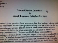 Medical Review Guidelines for  Speech-Language Pathology Services. Pinned by SOS Inc. Resources.  Follow all our boards at http://pinterest.com/sostherapy  for therapy resources.
