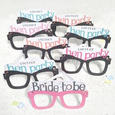 These personalised Original Card Glasses are a super way for everyone feel part of the celebrations!These hen party card glasses make great hen do gifts. They are a wonderful way to involve all hen's as well as creating a perfect photo opportunity and the message inside shows your appreciation too! Message inside bride to be card glasses reads: 'have a super hen party! Let's celebrate' Message inside hen party card glasses reads: 'thanks for coming! Let's Celebrate' The reverse is printed…