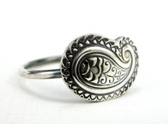 Paisley Ring Sterling and Fine Silver Ring size 8 by JMKJewelry, $45.00