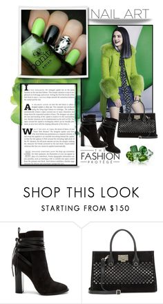 """""""Green With Envy - Nail Art II"""" by fashnbug ❤ liked on Polyvore featuring beauty, Steve Madden, Jimmy Choo and nailedit"""