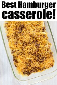 Hamburger casserole with potatoes is perfect for breakfast or a potluck! Like cheeseburger scalloped potatoes this will become a family fave. Potatoe Casserole Recipes, Easy Potato Recipes, Onion Recipes, Sweet Potato Casserole, Ground Beef Potato Casserole, Ground Beef And Potatoes, Hamburger Casserole, Best Ground Beef Recipes, Ground Beef Recipes For Dinner