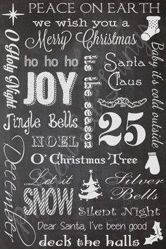 Shabby Chic Chalkboard Christmas Holiday Collage Sign Wall Art Typography Home Decor Door Welcome Table Decoration Printable DIY