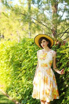 Yellow floral on Alexandra. Click for similar dress styles. #stylegallery