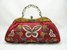 Red Satin Beaded Butterfly Handbag