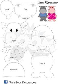 Hipopotamo Felt Crafts Patterns, Paper Piecing Patterns, Applique Patterns, Sewing Stuffed Animals, Stuffed Animal Patterns, Scrapbook Patterns, Felt Templates, Felt Books, Felt Christmas Ornaments