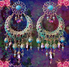 Large Exotic Moroccan Moon Earrings Turquoise Bohemian by kerala