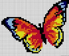 ideas for knitting charts butterfly perler beads Bead Loom Patterns, Perler Patterns, Beading Patterns, Embroidery Patterns, Pixel Art Papillon, Cross Stitch Charts, Cross Stitch Patterns, Cross Stitching, Cross Stitch Embroidery