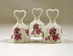 3 Vintage Porcelain Bells Purple Violets Heart Handle by VivaVera