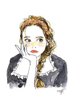 なんか、楽しいことないかなぁ~ Illustration Sketches, Illustrations And Posters, Pretty Gif, Water Art, Minimalist Drawing, Aesthetic Art, Female Art, Art Inspo, Art Girl
