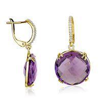 Show details for Diamond gold earrings