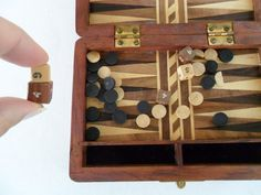 inlay backgammon game set  vintage inlay wooden games by GTDesigns, $20.00