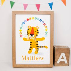 Personalised Christening Tiger Print