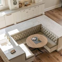 Island details hell yes? Comment down below tell us what you think. Kitchen Island Booth, Kitchen Booths, Kitchen Seating, Kitchen Banquette Ideas, Home Decor Kitchen, Kitchen Interior, Home Kitchens, Home Renovation, Home Remodeling