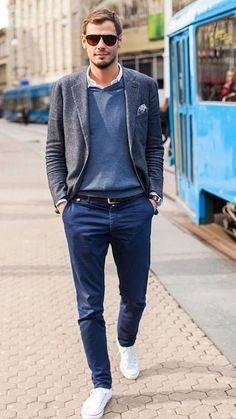 Business casual is a way to dress in a more relaxed way for work, in some offices it's appropriate. Here are some stylish fall outfits for men.