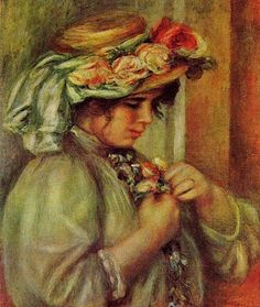 Pierre Auguste Renoir (French painter, 1841-1919) Young Girl  Renoir painted hat after hat after hat -- winter, spring, summer, & fall. It i...