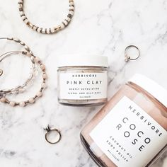 See this Instagram photo by @happilyeverallen • Pink clay. Branding. Logo. Simple. Flat lay. Flat lay inspiration. Herbivore. Body. Alex and ani. Kris nations. Love. Pink. Marble. Blogger. Fashion. Beauty.