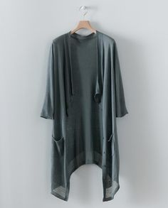 gray long cardigan