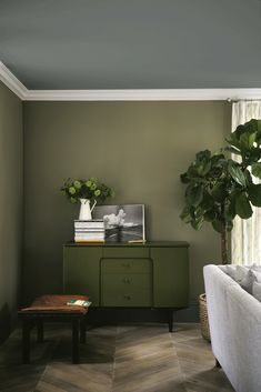 Find harmony and balance with a collection of green interior inspiration, from forest green walls to mint accessories Living Room Inspiration, Interior Design Living Room, Olive Living Rooms, Green Interiors, Green Walls Living Room, Living Room Green, Snug Room, Living Room Paint, House Interior
