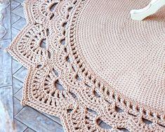 Crochet Borders Round area rug 625 in crochet rug crochet decor doily Crochet Doily Rug, Crochet Carpet, Crochet Rug Patterns, Crochet Mandala Pattern, Crochet Borders, Crochet Round, Crochet Home, Crochet Tablecloth, Crochet Decoration