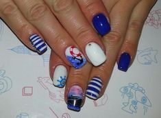 Anchor nails, Beautiful nails, Beautiful summer nails, Bright summer nails, Juicy nails, Marine nails, Nail art stripes, Nautical nails