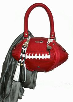 Red Leather Football Handbag with Accessories for KC Chiefs Fans