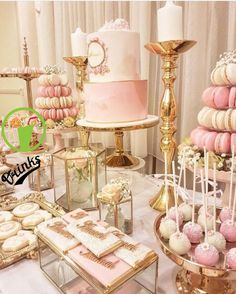 18 Ideas for birthday table decorations sweet 16 Pink Dessert Tables, Dessert Table Birthday, Birthday Table Decorations, Birthday Party Snacks, Gold Birthday Party, Sweet 16 Birthday, 16th Birthday, Cake Birthday, Diy Sweet 16 Decorations
